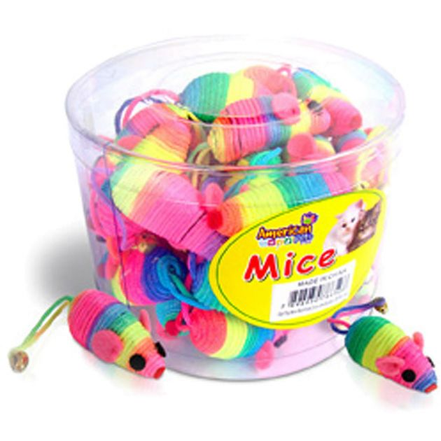 Cat Toy Mini Ratinhos Arco Iris Balde c/ 36