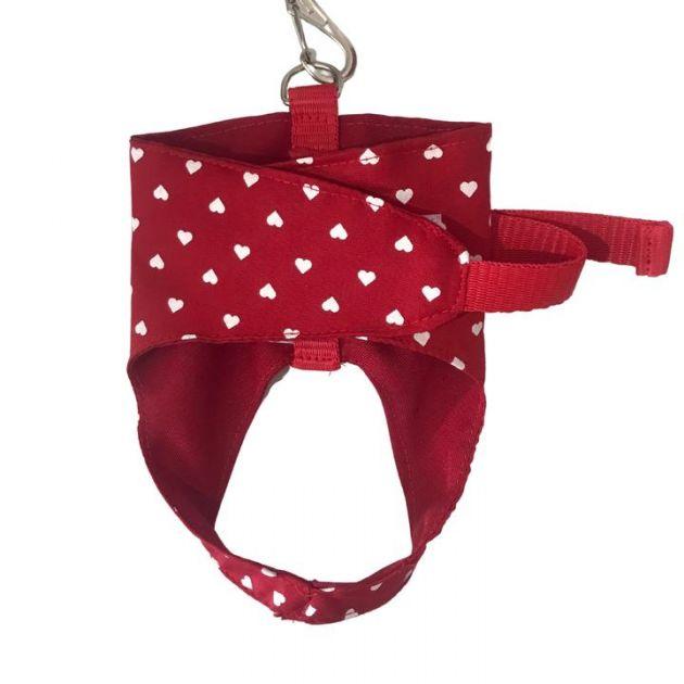 Conjunto Colete com Guia Coração Vermelha - p/ Cães