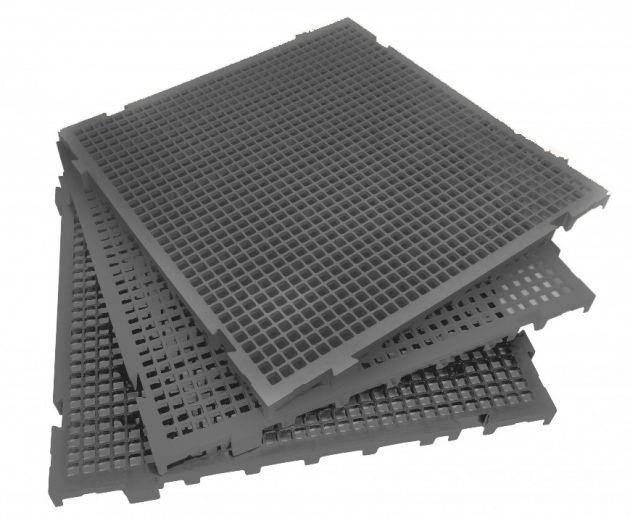 Piso Plástico - Estrado Cinza (50 x 25 cm)