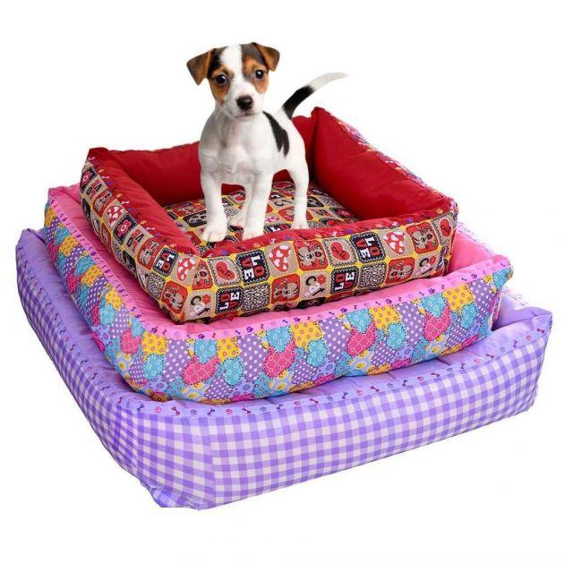 Cama Quadrada Decorada - Jogo c/ 3 unid - Cães e Gatos