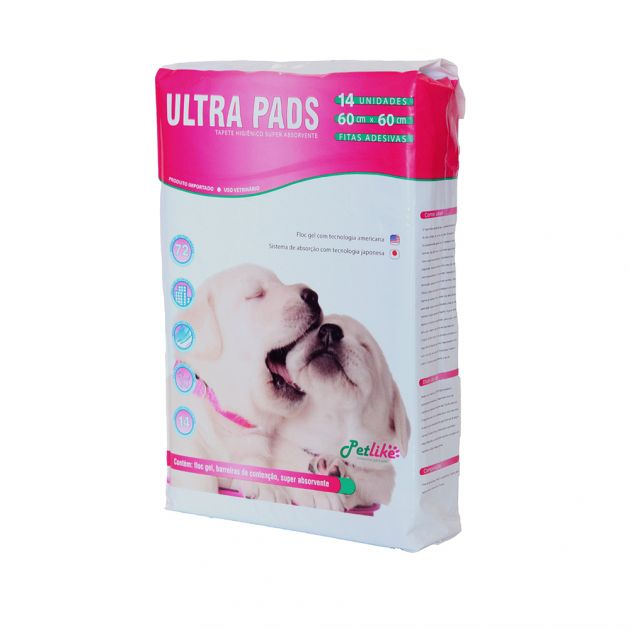 Tapete Higiênico Ultra Pads c/ 14 unid - 60x60cm